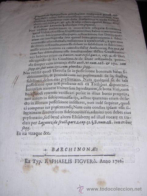 Libros antiguos: R.P.D.CAPRARA-BARCHINONEN.BENEFICIJ. LUNAE 3 IUNIJ 1702-BARCHINONAE EX.TYP.RAPHAELIS FIGUERO ANNO - Foto 3 - 12405095