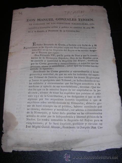 TALARN 10 SEPT.1812-D. MANUEL GONZALES TENIENTE CORONEL DE LOS EJERCITOS NACIONALES GOVERNADOR Y (Libros Antiguos, Raros y Curiosos - Historia - Otros)