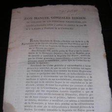 Libros antiguos: TALARN 10 SEPT.1812-D. MANUEL GONZALES TENIENTE CORONEL DE LOS EJERCITOS NACIONALES GOVERNADOR Y. Lote 12405216