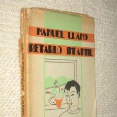 Libros antiguos: RETABLO INFANTIL, POR MANUEL LLANO, PRIMERA EDICIÓN, SANTANDER 1935, PRÓLOGO DE M. DE UNAMUNO. Lote 26666389
