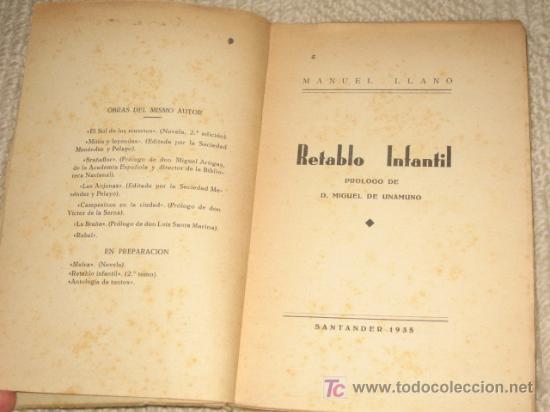 Libros antiguos: Retablo infantil, por Manuel Llano, Primera Edición, Santander 1935, Prólogo de M. de Unamuno - Foto 2 - 26666389