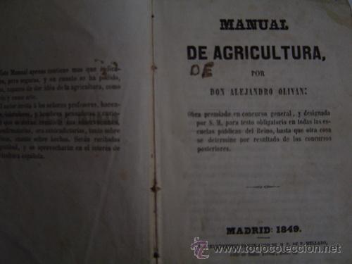 1849 MANUAL DE AGRICULTURA ALEJANDRO OLIVAN (Libros Antiguos, Raros y Curiosos - Ciencias, Manuales y Oficios - Otros)