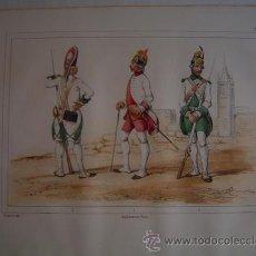 Libros antiguos: 1853 CROMOLITOGRAFÍA DE CORONEL, FUSILERO Y GRANADERO EN 1775. Lote 25524201