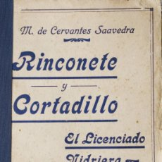 Libros antiguos: CERVANTES RINCONETE Y CORTADILLO LICENCIADO VIDRIERA NOVELAS EJEMPLARES BIBLIOTECA PATRIA CIRCA 1920. Lote 13131511