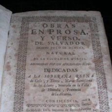 Libros antiguos: JACINTO POLO DE MEDINA ( MURCIA ) OBRAS EN PROSA Y VERSO DE SALVADOR , MADRID 1726. Lote 27976604