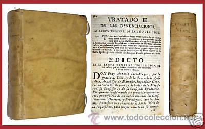 1755 - EDICTOS DE LA SANTA INQUISICION - BULAS DE CRUZADA - DENUNCIAS DEL SANTO TRIBUNAL -PERGAMINO (Libros Antiguos, Raros y Curiosos - Historia - Otros)