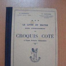 Libros antiguos: LE LIVRE DU MAITRE POUR L´ENSEIGNEMENT CROQUIS COTÉ À L´ECOLE PRIMAIRE ÈLEMENTAIURE. PARIS 1925.. Lote 19685107