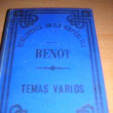 Libros antiguos: BENOT (TEMAS VARIOS )1884 BIBLIOTECA DE LA REPUBLICA (1ª REPUBLICA ). Lote 18923125