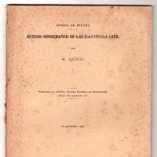 Libros antiguos: ESTUDIO MONOGRAFICO DE LA DASYPODA POR M. QUILIS. MUSEO NACIONAL DE CIENCIAS NATURALES MADRID 1928. Lote 14395905