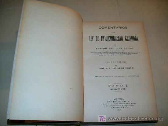 Libros antiguos: LEY ENJUICIAMIENTO CRIMINAL - 6 TOMOS (COMPLETA) - MADRID 1923 - ED. REUS - ENRIQUE AGUILERA - Foto 3 - 25866131