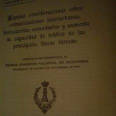 Libros antiguos: 1920 COMUNICACIONES INTERURBANAS Y FERROCARRRILES SECUNDARIOS. Lote 24911881