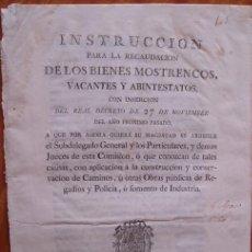 Libros antiguos: REAL DECRETO 1786 CARLOS III RECAUDACIÓN BIENES MOSTRENCOS, VACANTES Y ABINTESTATOS. Lote 25584287
