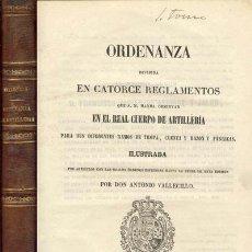 Libros antiguos: 1853 ORDENANZA QUE S.M. MANDA OBSERVAR EN EL REAL CUERPO DE ARTILLERIA. Lote 26634294