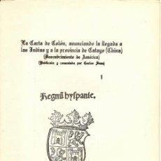 Libros antiguos: LA CARTA DE,...INDIAS... DE CATAYO (CHINA). DE INSULIS INVENTIS / COLÓN * DESCUBRIMIENTO AMÉRICA *. Lote 26991236
