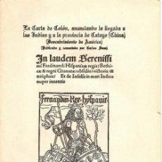 Libros antiguos: LA CARTA...CATAYO (CHINA)...DE INSULIS NUPER IN MARI INDICO... / COLÓN * DESCUBRIMIENTO AMERICA *. Lote 26991237
