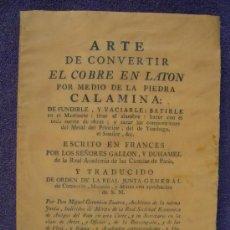 Libros antiguos: FACSIMIL. ARTE DE CONVERTIR EL COBRE EN LATÓN. 1779 MINAS. Lote 16201635
