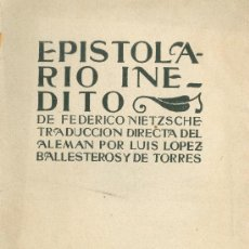 Libros antiguos: FEDERICO NIETZSCHE. EPISTOLARIO INÉDITO. MADRID, S.F. (C. 1925). Lote 20100743