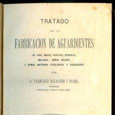 Libros antiguos: NUMULITE L1399 TRATADO FABRICACIÓN DE AGUARDIENTES VINO ORUJO CAÑA FRANCISCO BALAGUER 1873 ALCOCHOL. Lote 15300905