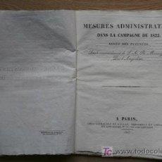 Libros antiguos: MESURES ADMINISTRATIVES DANS LA CAMPAGNE DE 1823.. Lote 15920308