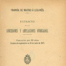 Libros antiguos: TRANVÍA DE MADRID A LEGANÉS. SOBRE CONCESIONES Y AMPLIACIONES OTORGADAS. MADRID, 1895. MAGERIT. Lote 17033686