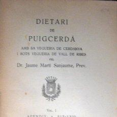 Libros antiguos: DIETARI DE PUIGCERDÁ. 1928. Lote 27224427