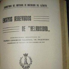 Libros antiguos: 1921 ENSAYOS ABREVIADOS DE HELADICIDAD LABORATORIO DE INGENIEROS DEL EJÉRCITO. Lote 25761929