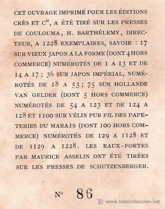 Libros antiguos: RIEN QU'UNE FEMME PAR FRANCIS CARCO. ÉDITION LIMITÉE Nº 86. LES EDITIONS G. CRES ET CIE. PARIS 1923 - Foto 6 - 26002022