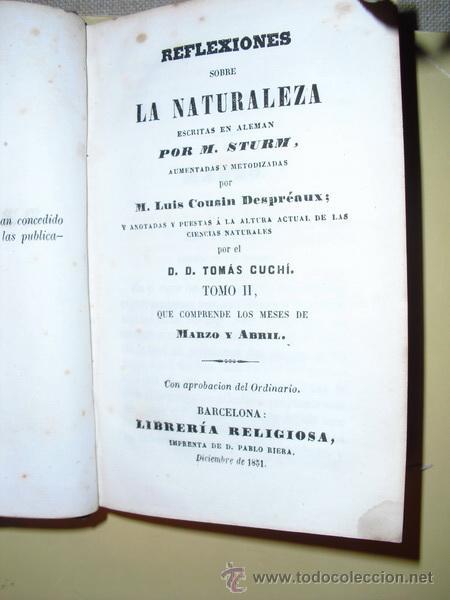 Libros antiguos: 1851 REFLEXIONES SOBRE LA NATURALEZA M. STURM TOMO II CORRESPONDIENTE A MARZO Y ABRIL - Foto 2 - 26804222