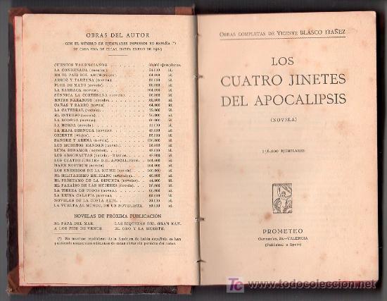 Libros antiguos: OBRAS COMPLETAS DE VICENTE BLASCO IBAÑEZ. LOS CUATRO JINETES DEL APOCALIPSIS.EDITORIAL PROMETEO.1925 - Foto 2 - 17459675