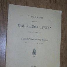 Libros antiguos: DISCURSOS LEÍDOS ANTE LA REAL ACADEMIA ESPAÑOLA, EN LA RECEPCIÓN PÚBLICA DEL EXCMO. SEÑOR: -. Lote 17576970