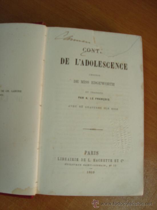 Libros antiguos: CONTES DE L ADOLESCENCE. CHOISIS DE MISS EDGEWORTH. PARIS. LIBRAIRIE HACHETTE 1869. - Foto 3 - 23833073