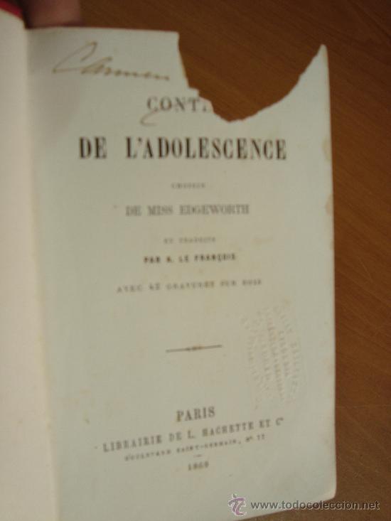 Libros antiguos: CONTES DE L ADOLESCENCE. CHOISIS DE MISS EDGEWORTH. PARIS. LIBRAIRIE HACHETTE 1869. - Foto 4 - 23833073
