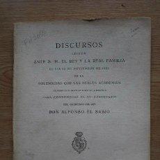 Libros antiguos: DISCURSOS LEÍDOS ANTE S. M. EL REY Y LA REAL FAMILIA EN LA SOLEMNIDAD QUE LAS REALES ACADEMIAS.... Lote 18567764