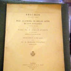 Libros antiguos: RESUMEN REAL ACADEMIA DE BELLAS ARTES SAN FERNANDO 1881. Lote 26518558