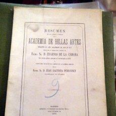 Libros antiguos: RESUMEN REAL ACADEMIA DE BELLAS ARTES SAN FERNANDO 1875. Lote 26410001