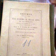 Libros antiguos: RESUMEN REAL ACADEMIA DE BELLAS ARTES SAN FERNANDO 1876. Lote 24389442