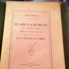 Libros antiguos: RESUMEN REAL ACADEMIA DE BELLAS ARTES SAN FERNANDO 1872. Lote 24484802