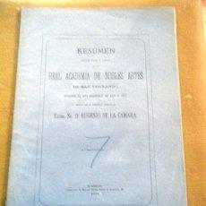 Libros antiguos: RESUMEN REAL ACADEMIA DE BELLAS ARTES SAN FERNANDO 1871. Lote 18642533