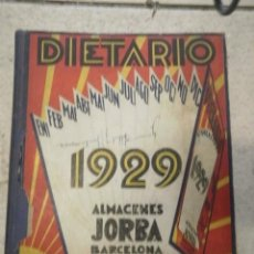Libros antiguos: DIETARIO ALMACENES JORBA BARCELONA / MANRESA AÑO 1929. Lote 18706134