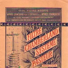 Libros antiguos: FILTRE CHAMBERLAND SYSTEME PASTEUR AÑO 1900. Lote 25674663