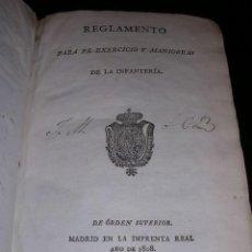 Libros antiguos: REGLAMENTO PARA EL EXERCICIO Y MANIOBRAS DE LA INFANTERIA, MADRID IMPRENTA REAL 1808,MUCHOS GRABADOS. Lote 26758451