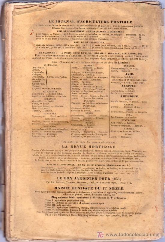 Libros antiguos: JOURNAL D`AGRICULTURE PRATIQUE. 4º SERIE. 1855. - Foto 2 - 20227920