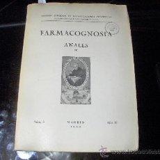 Libros antiguos: FARMACOGNOSIA - ANALES DEL INST.FARMACOGNOSIA JOSE CELESTINO MUTIS 1944. Lote 22596601
