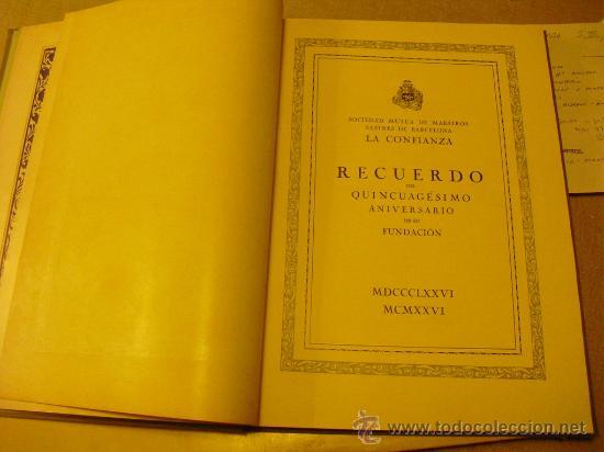 Libros antiguos: 1876-1926 LIBRO CONMEMORACION DEL CINCUENTENARIO DE LA SOCIEDAD DE MAESTROS SASTRES - Foto 3 - 25497874