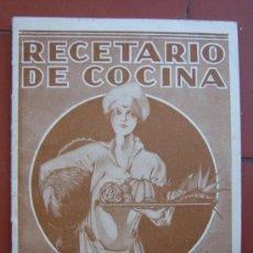Libros antiguos: RECETARIO DE COCINA. AÑOS 20-30. Lote 26468253
