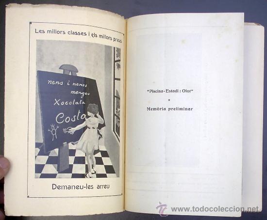 Libros antiguos: PISCINA - ESTADI: OLOT. MEMORIA PRELIMINAR. IMPREMTA DE P. ALZAMORA. OLOT, 1934. - Foto 2 - 26169197