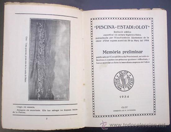 Libros antiguos: PISCINA - ESTADI: OLOT. MEMORIA PRELIMINAR. IMPREMTA DE P. ALZAMORA. OLOT, 1934. - Foto 3 - 26169197