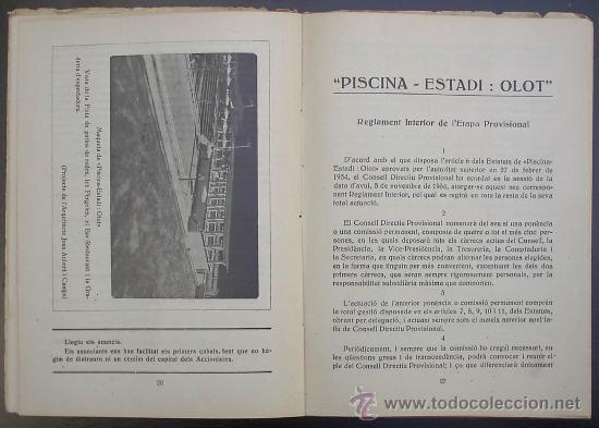 Libros antiguos: PISCINA - ESTADI: OLOT. MEMORIA PRELIMINAR. IMPREMTA DE P. ALZAMORA. OLOT, 1934. - Foto 4 - 26169197