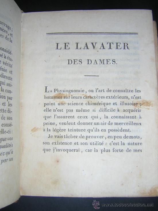 Libros antiguos: 1815 - LE LAVATER DES DAMES OU LÀRT DE CONNOITRE LES FEMMES SUR LEUR PHYSIONOMIE - 30 LAMINAS COLOR - Foto 5 - 26503984