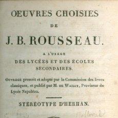 Libros antiguos: J.B. ROUSSEAU. OEUVRES CHOISIES. PARÍS, 1811. FRANCÉS. Lote 23848568